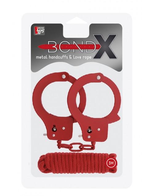 Комплект метални белезници и памучно въже