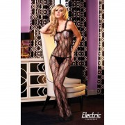 Electric Lingerie BUTTERFLY LACE CROTCHLESS RUFFLE BODYSTOCKING HOSIERY