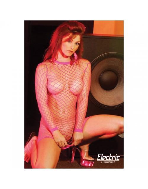 Мрежеста рокля с големи дупки розова Electric Lingerie