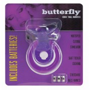 Вибриращ Ринг Cock & Ball Harness Butterfly Purple